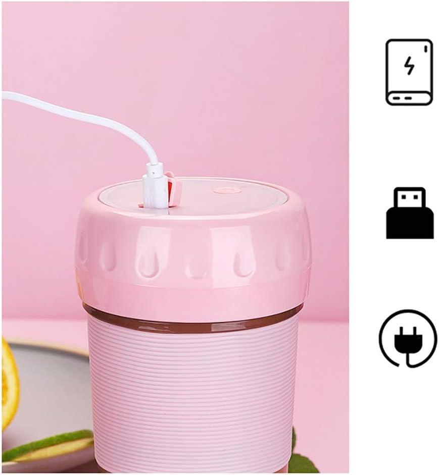 WSXD Juicer Cup - Portable Frutta Elettrico Juicing Coppa a Due Ante Fresa Juicer Mixer USB Ricaricabile creatore dello Smoothie Blender 300ml (Color : Pink) Pink