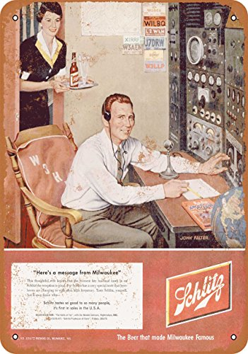 Wall-Color 9 x 12 Metal Sign - 1952 Schlitz Beer and Ham Radio - Vintage Look