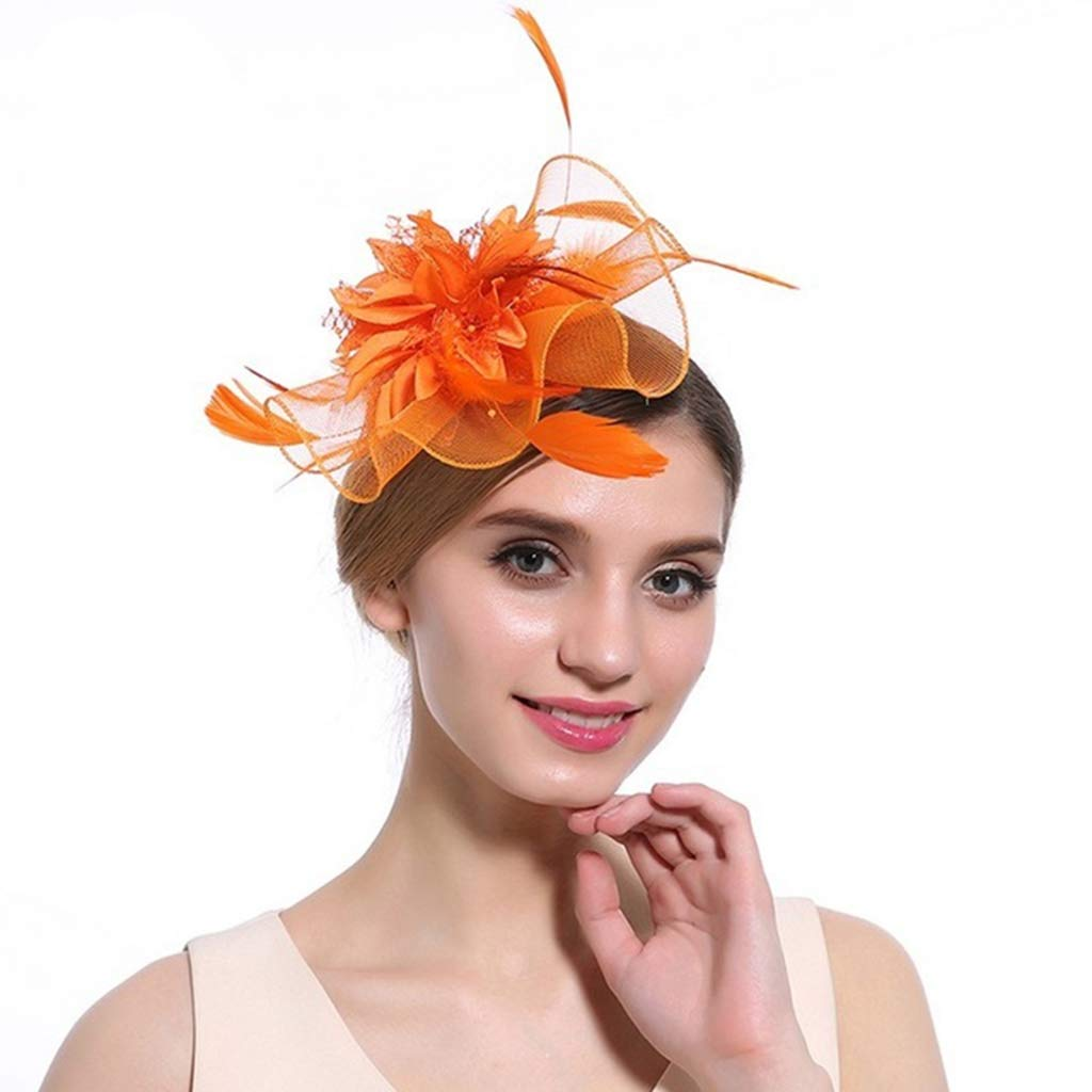 Alihao Fascinator Hats for Women Elegant Feather Flower Hairpins Ladies Cocktail Party Hair Accessories