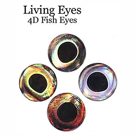 RAH 3-D Hard Epoxy Eyes (60 Pack) Fly Tying Lures Crafts Available in 4 Colors & 7 Sizes (Ice, 4 mm)