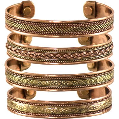 Set of 4 Tibetan Copper Bracelets Magnetic India Pattern Women's Men's Spiritual Yoga -