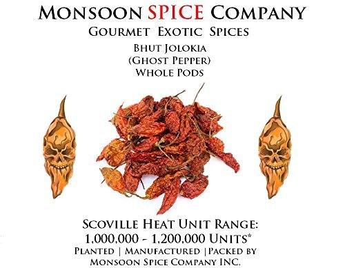 Monsoon Spice Company Carolina Reapers Dry Whole Pepper Pods Hottest Peppers in the World   Free Domestic Shipping (Ghost Pepper (Bhut Jolokia), 1 x 2 oz Ghost Pepper (Sun Dried) (Bhut Jolokia Chili Pepper)