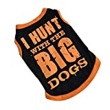 Meidus Cute Pet Clothes Big Printed Coat Vest Costumes Apparel Black Black L