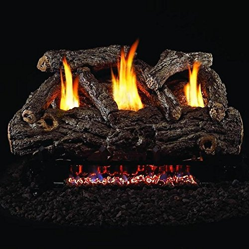 Golden Oak Remote - Peterson Real Fyre 30-inch Golden Oak Designer Log Set With Vent-free Natural Gas Ansi Certified G9 Burner - Variable Flame Remote