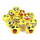 Evana Set Of 12 Cartoon Face Expressions Squeeze Foam Toy Ball, Perfect For Stress Relieving, Add On For Sports Playsets