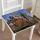 Mikihome Classic Decorative Chair pad Seat University of Toronto Victoria College fivy Cushion with Memory Filling 20''x20''x2pcs