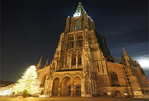 AOFOTO 7x5ft Ulm Minster Cathedral Background European City Street Retro Architecture Photography Backdrop Lovers Adult Portrait German Trip Christmas Tree Photo Studio Props Video Drape Wallpaper (Best German Cities For Christmas)