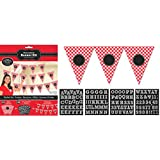 """Amscan Classic Picnic Party Gingham Personalized Pennant Banner Hanging Decoration, Red/White, 12 x 9.6"""""""