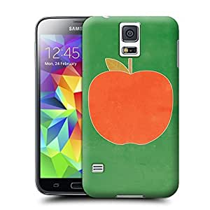 apple art print illustration - green and red Hard Cover for samsung galaxy s5 cases Unique samsung Case