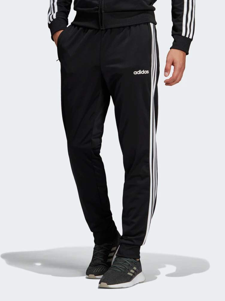 adidas Essentials Men's 3-Stripes Tapered Tricot Pants, Black/White, 3XLT by adidas
