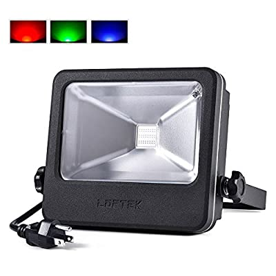 LOFTEK 10W Outdoor Security RGB LED Floodlight, High Powered RGB Color Change(16 Different Color Tones and Four modes), Spotlight