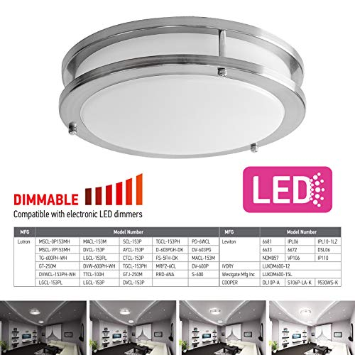 OSTWIN 12-inch Small size LED Ceiling Light Fixture Flush Mount, Dimmable, Round 15 Watt (75W Repl) 5000K Daylight, 1050 Lm, Nickel Finish with Acrylic shade (4 Pack) UL and ENERGY STAR listed by OSTWIN (Image #4)