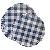 What Is It?'' Reusable Blue & White Gingham Checkered Picnic/Dinner Plate, 7.5 Inch Melamine, Set of 4
