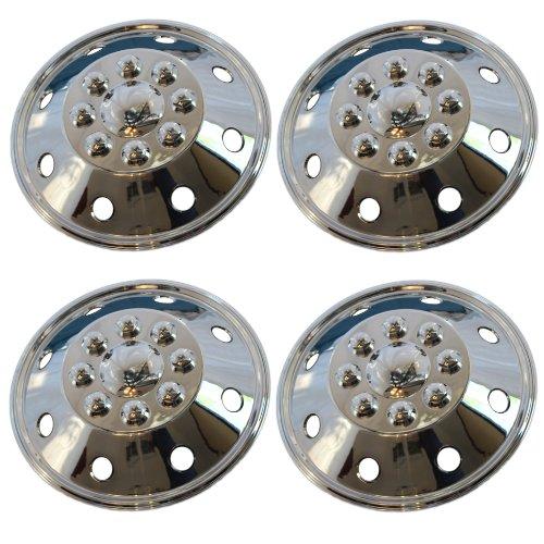 """4 Piece Set 16"""" 8 Lug RV Dual Chrome Simulators Wheel Skin Hub Cap Rim Covers"""