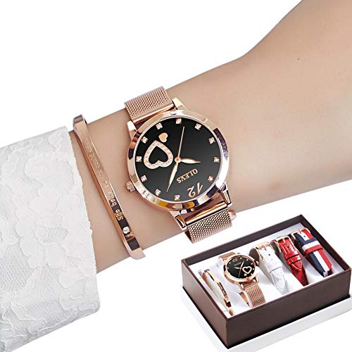 Watches Sets with Jewelry for Women 5 Pieces Set Fashion Creative Magnetic Wristband Black Surface with Leather Belt Ladies Wrist Watch Female Watch for Girl Friend Gift from GEXIN