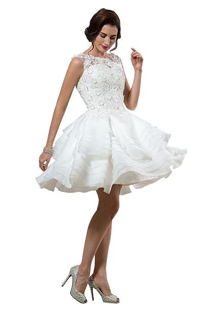 CLOCOLOR Damen Cocktail Brautkleid Weiß Elfenbein: Amazon.de: Bekleidung
