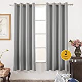 "Vangao Room Darkening Draperies Grey 52""Wx84""L 2 Panels Solid Grommet Top Window Blackout Curtains/Drapes/panels for Bedroom/Living Room"
