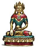 Aone India 10'' Large Maitreya Buddha Statue, Coral Turquoise Gemstone Work,buddhism Carved Brass Metal Figurine Sculpture + Cash Envelope (Pack Of 10)