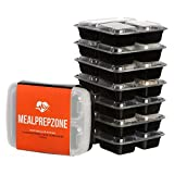 Meal Prep Zone 3 Compartment Food Storage Containers with Lids, Set of 7