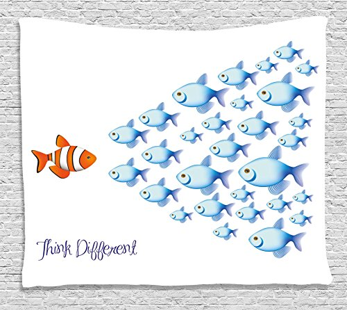 Ocean Animal Decor Tapestry by Ambesonne, Quote with Outside