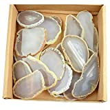 30 pieces Agate Slices Stone Slab 2''-3'' in length for Wedding Name Cards Namecards Place Cards - White / Grey