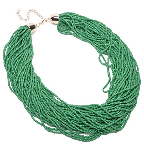 Fashion Multilayer Seed Bead Chain Choker Collar Cluster Strand Handmade Bib Statement Necklace (Green)