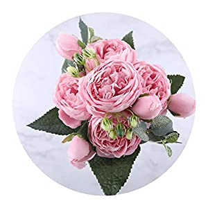 You Are My Eye 30cm Rose Pink Silk Peony Artificial Flowers Bouquet 5 Big Head 4 Bud Fake Flowers Home Wedding Decoration,Pink 1