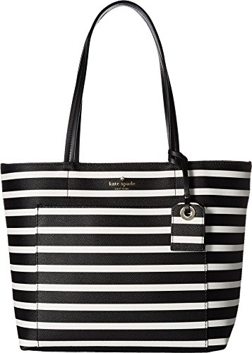 Kate Spade New York Women's Hyde Lane Stripe Small Riley Black/Off-White Handbag (Kate Spade Black And White)
