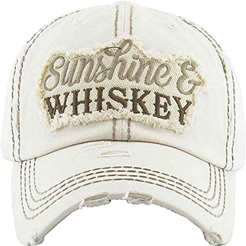 Women's Sunshine & Whiskey Vintage Baseball Hat Cap (Stone)