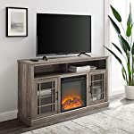 Walker Edison Hoxton Classic 2 Glass Door Fireplace Stand for TVs up to 65 Inches, 58 Inch, Grey Wash