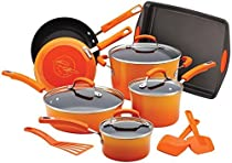 Rachael Ray Porcelain Nonstick 14-Piece Cookware Set with Bakeware and Tools, Orange Gradient by Rachael Ray
