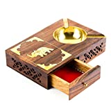 Rusticity Wood Cigarette Case and Ashtray with Brass Bowl | Handmade | (7×5 in)