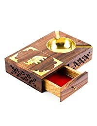 Rusticity Wood Cigarette Case and Ashtray with Brass Bowl   Handmade   (7x5 in)
