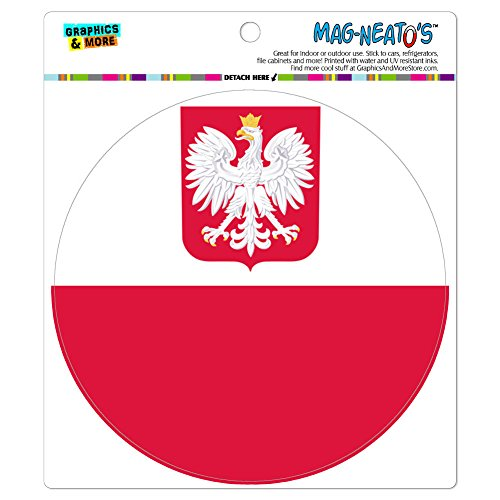 Poland With Coat of Arms National Country Flag MAG-NEATO'S(TM) Automotive Car Refrigerator Locker Vinyl Magnet (Poland Arms)