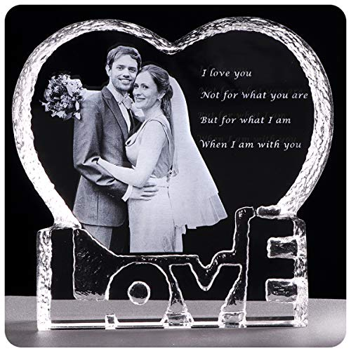 (YWHL Custom Photo Wedding Anniversary Sculpture - Perfect Personalized Crystal Gift for Him Husband Boyfriend Her Wife Girlfriend)