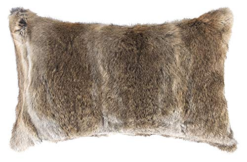 Natural Handcrafted 100% Genuine Rabbit Fur Pillow with Polyfil Insert and Zipper Closure, Hazelnut, 12 in x 20 in