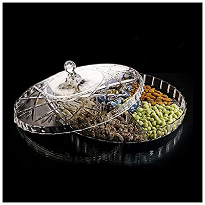 HABIBEE Creative Acrylic Multi Sectional Snack Serving Tray Set with Lid. BPA Free Dried Fruits, Nuts, Candies Holder