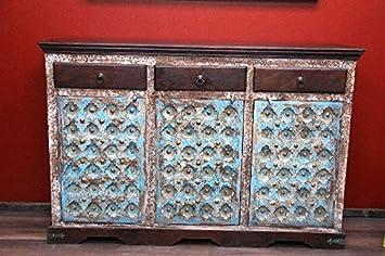 Schrank Kolonialstil Sideboard Kommode Holz Antik Blau Indien