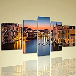 "Framed Landscape Picture Italy Venice Canal Grande Canvas Print Wall Art Decor Extra Large Wall Art, Gallery Wrapped, by Bo Yi Gallery 72""x40"""