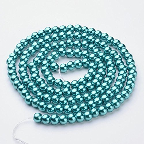 AMZ Beads - 6MM Glass Round Pearls Jewelry Making Loose Pearl Beads (Teal) (Gold Teal Beads)