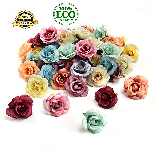Silk Flowers in Bulk Wholesale Mini Silk Gradient Orchid Artificial Flower Head for Wedding Decoration DIY Wreath Accessories Craft Fake Flowers 30pcs 3.5cm (Multicolor)