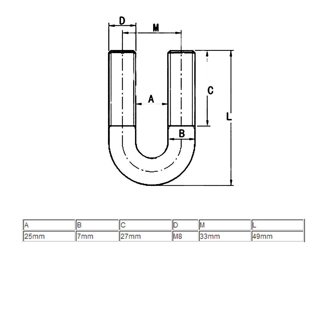 Aexit Boules en U rondes en U de coude rond en acier inoxydable 304 du filetage M8 304 pour le tuyau de diam/ètre de 22mm SD301623B124416Z
