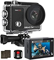 Dragon Touch Vision 3 Pro Action Camera 4K Touch Screen Sports Camera Adjustable View Angle 100 feet Underwater...