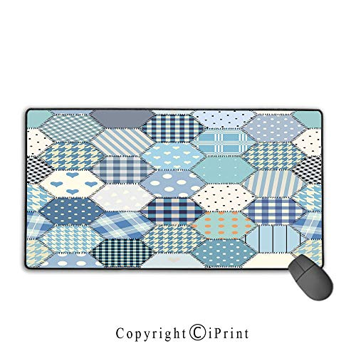 Gaming Mouse pad,Cabin Decor,Blue Toned Patchwork Hexagons Stitched Seem Quilt Pattern Retro Tile Image Decorative,Multicolor, Suitable for Offices and Homes, Mouse pad with Lock,9.8