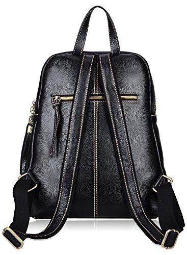 PIJUSHI Fashion Women Leather Backpack Designer Backpack For Girls Travel School Bag 8823 (Black) by PIJUSHI (Image #4)
