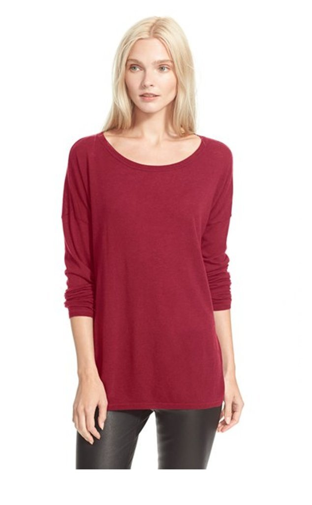Vince Fine-Knit Merino Wool Open Crew Neck Sweater, Crimson Red - XSmall
