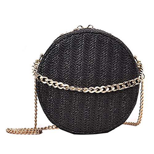 Rattan Vintage (Vintage Straw Purse Hand Woven Round Straw Crossbody Bag (Black))