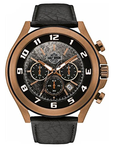 Harley-Davidson Men's Bar & Shield Tumbled Amber Black Face Chronograph Watch