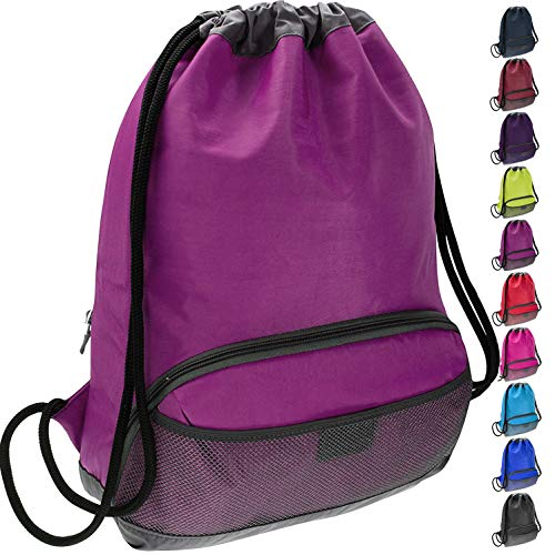 ButterFox Waterproof Swim Gym Sports Dance Bag Drawstring Backpack Cinch Sack Sackpack for Kids, Men and Women - Purple