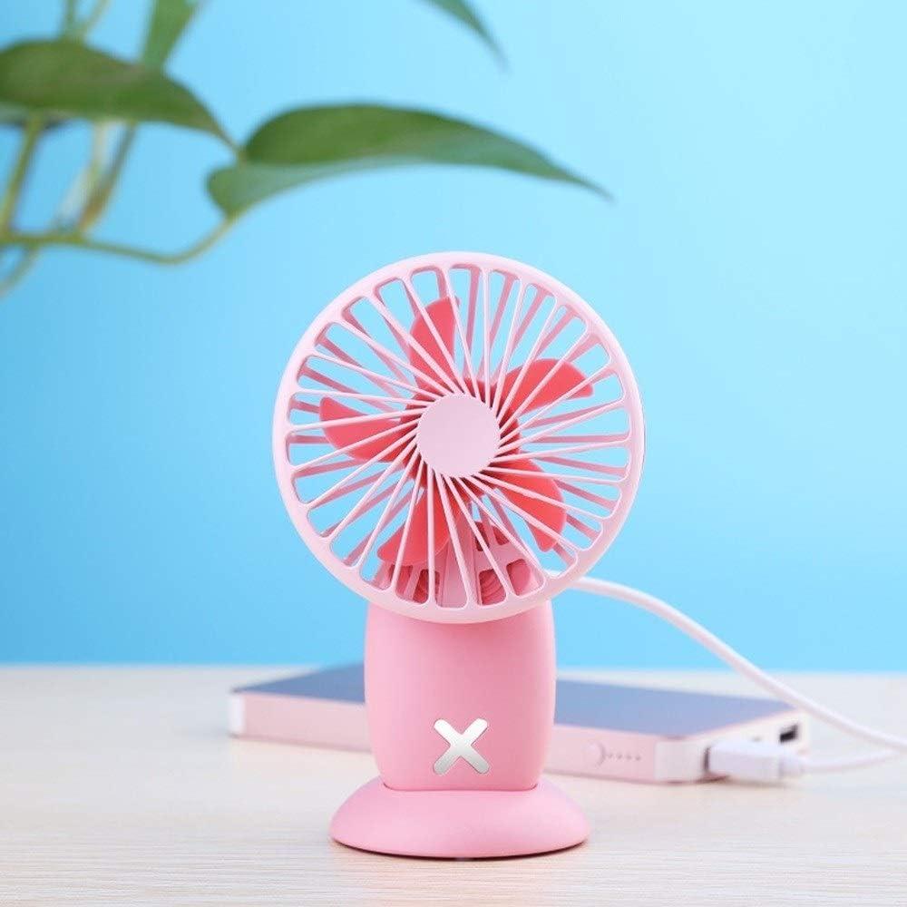 Color : Gray Handheld Electric Fan Mini Silent Portable Three-Speed Wind Dormitory Office USB Rechargeable Desktop Fan